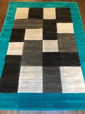 NEW MODERN BLOCK DESIGN RUGS TEAL 150X210CM 7X5FT APPROX LUXURY QUALITY MATS